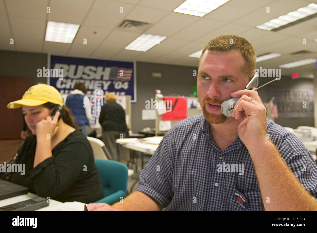 Volunteer Makes Phone Calls in Political Campaign - Stock Image