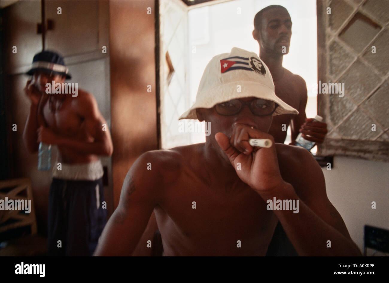 CUBA Havana Cuban hip hop trio Simbolo Admision in rehearsal Stock Photo