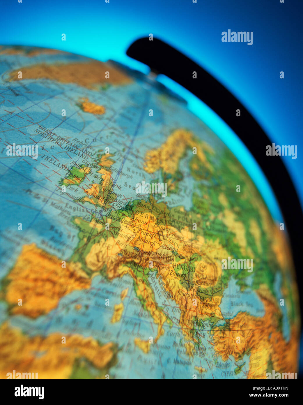 Close up of the continent of Europe on a world globe - Stock Image