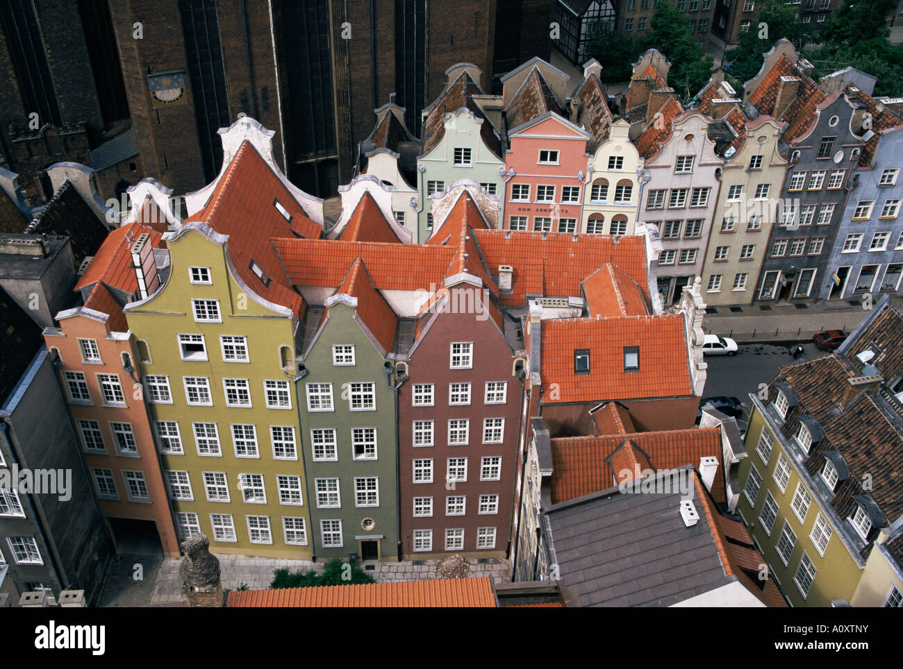 Gables and painted facades of Hanseatic Gdansk Gdansk Pomerania Poland Europe - Stock Image