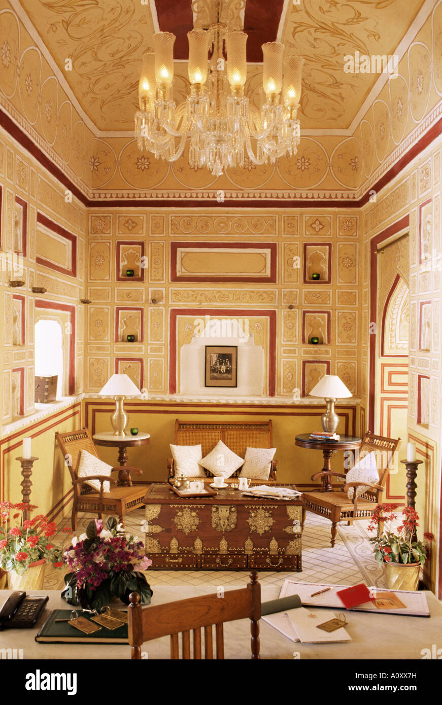 Reception Area For Arriving Guests With Reproduction Colonial Style  Furniture Painted Walls And Ceiling Samode Palace Hotel