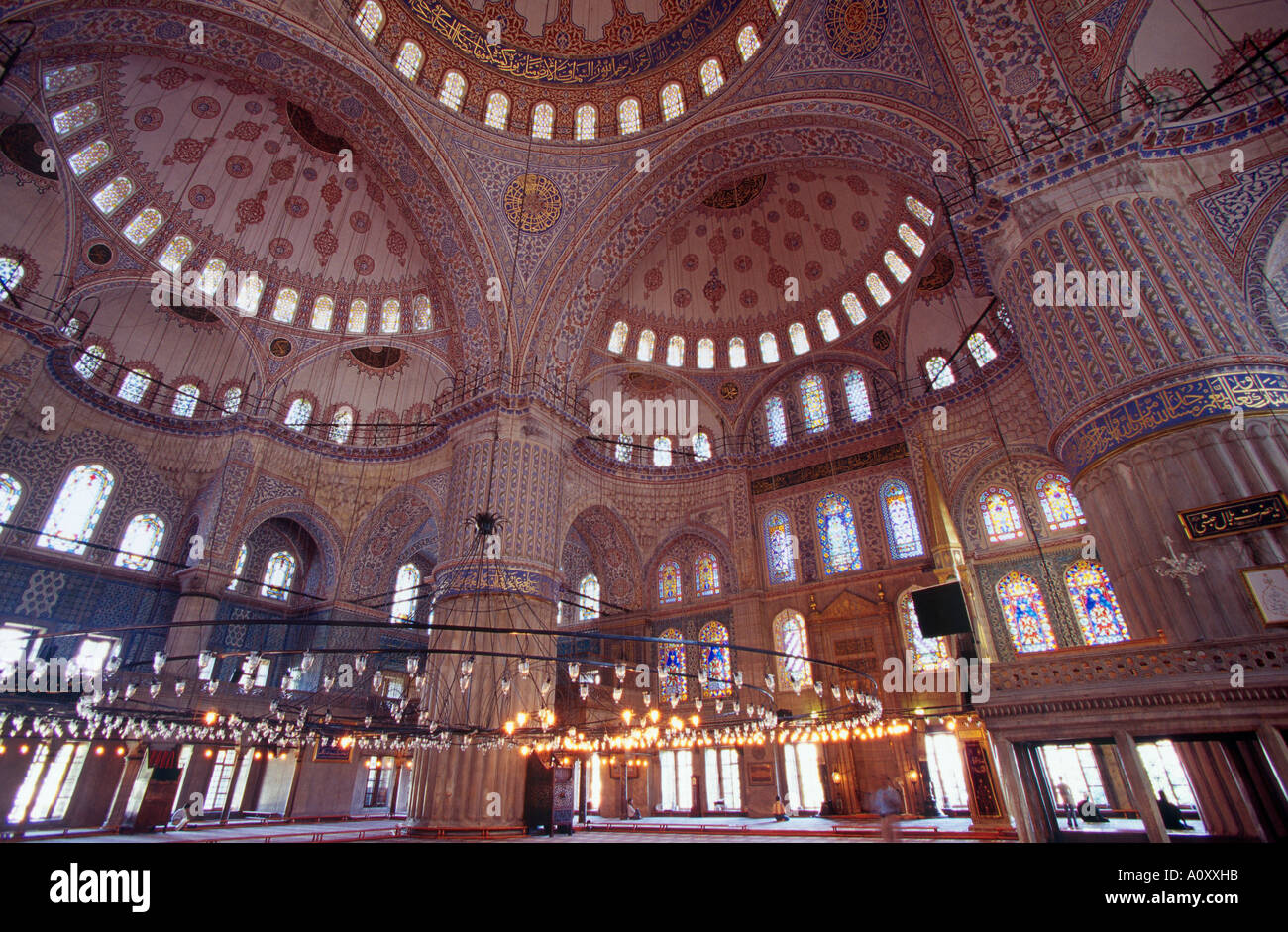 Interior Of Blue Mosque Sultan Ahmet Camii Built Between 1609 And 1616  Istanbul Turkey   Stock