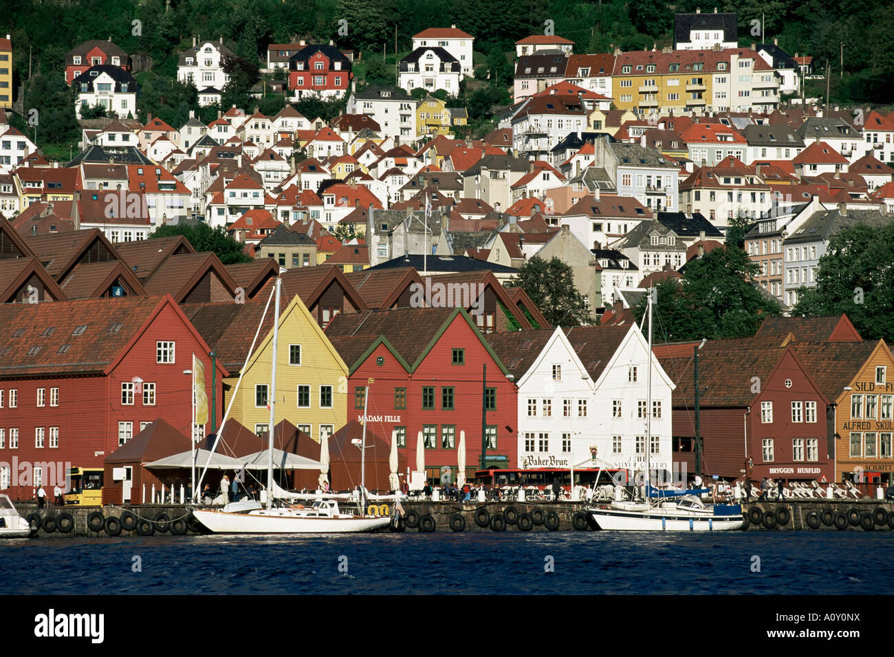Hanseatic period wooden buildings Bryggen Bergen Norway Scandinavia Europe - Stock Image
