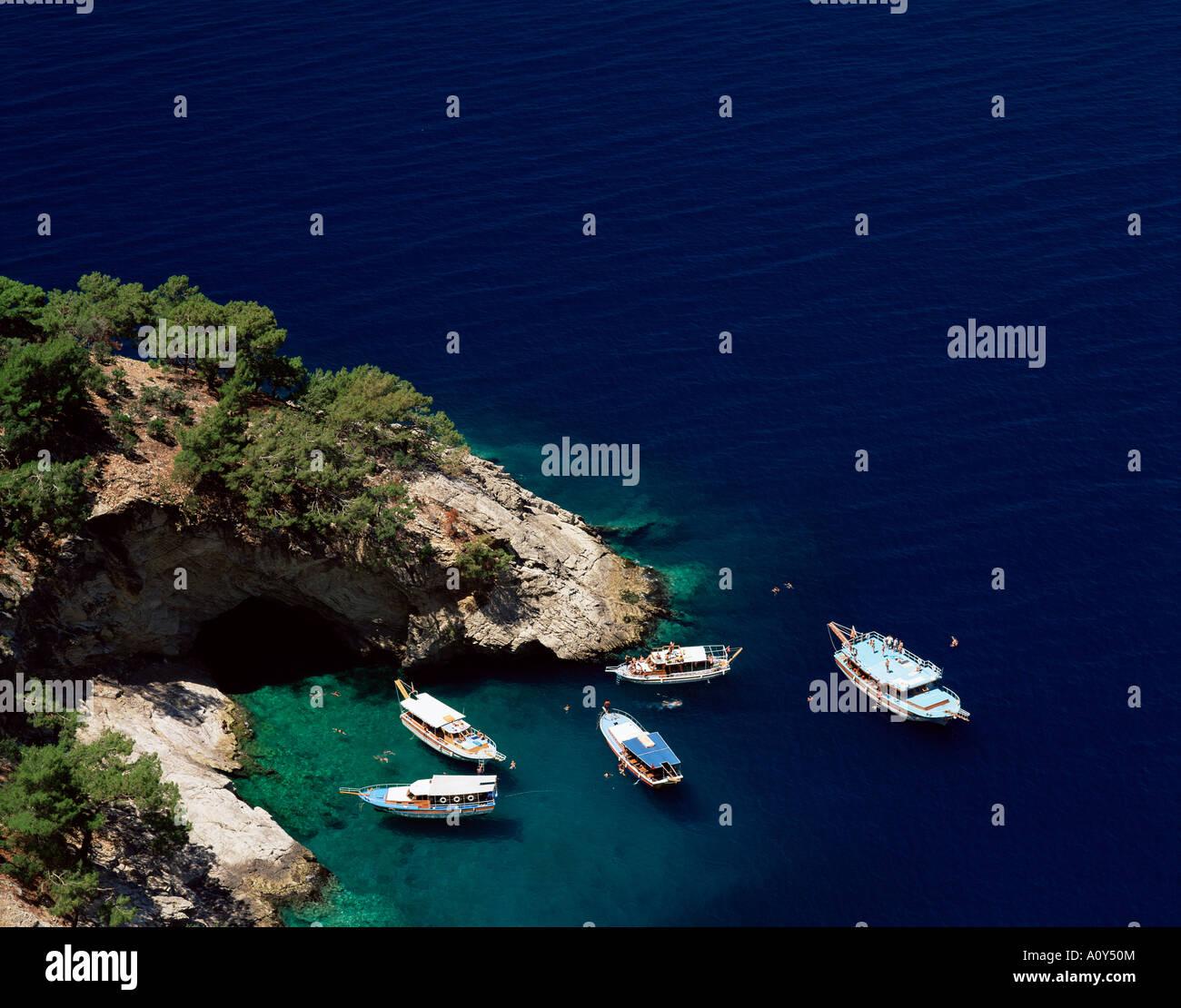 Blue Caves near Olu Deniz Lycia Anatolia Turkey Eurasia Stock Photo