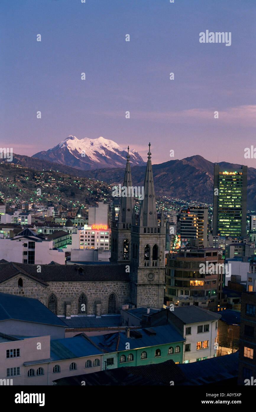 La Paz and Mount Illampu Bolivia South America - Stock Image