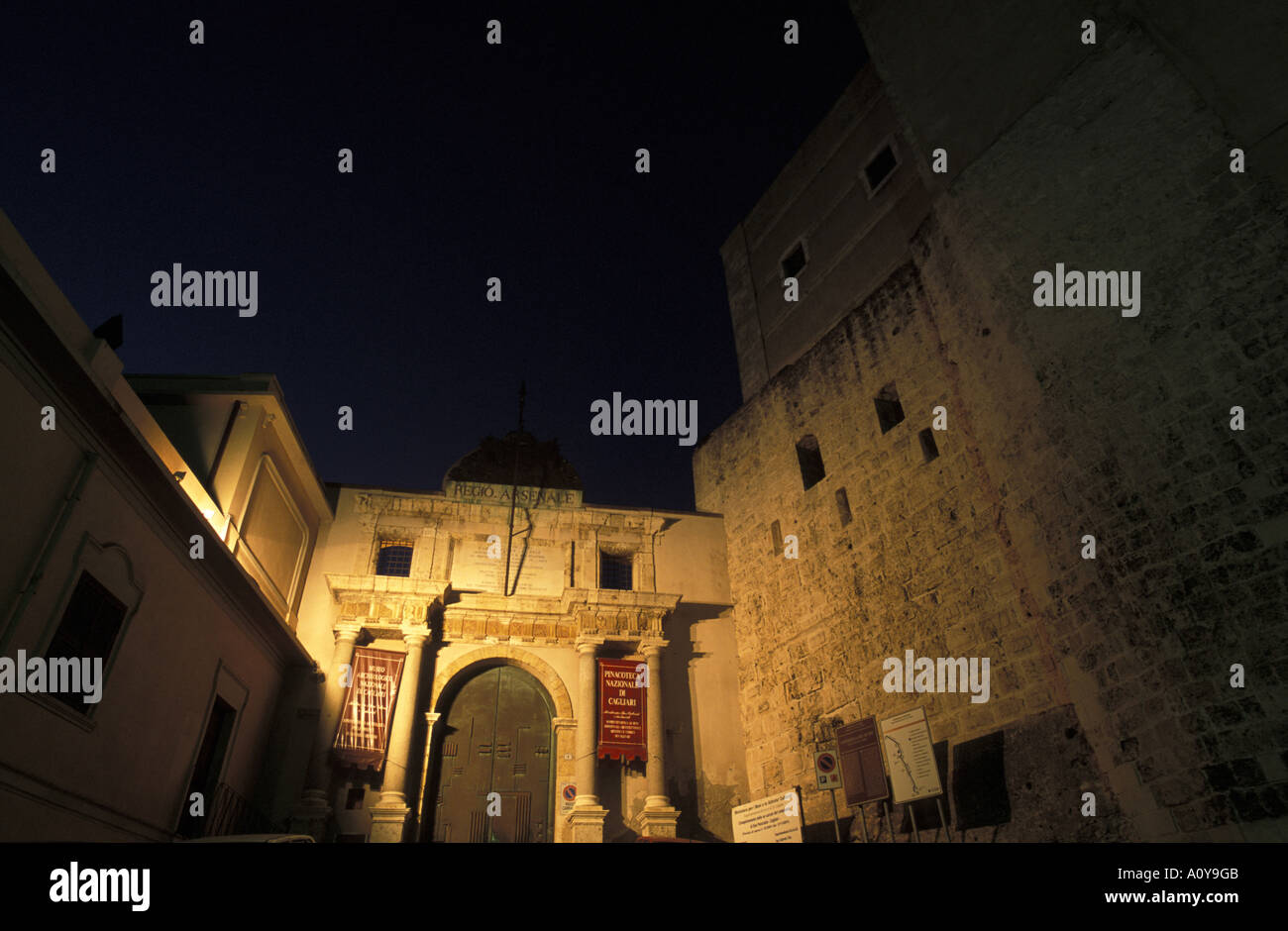Arsenale city gate Cagliari Sardinia Italy - Stock Image