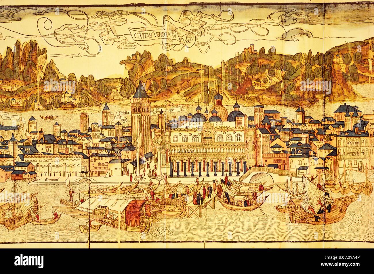 Early panorama of Venice dating from the 15th century Sansovino Library Venice Veneto Italy Europe - Stock Image