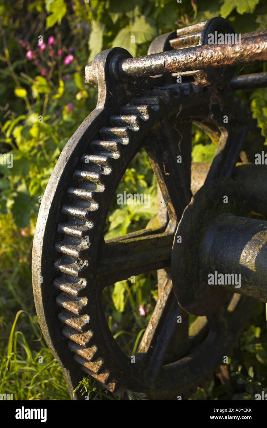An old boat winch Studland - Stock Image