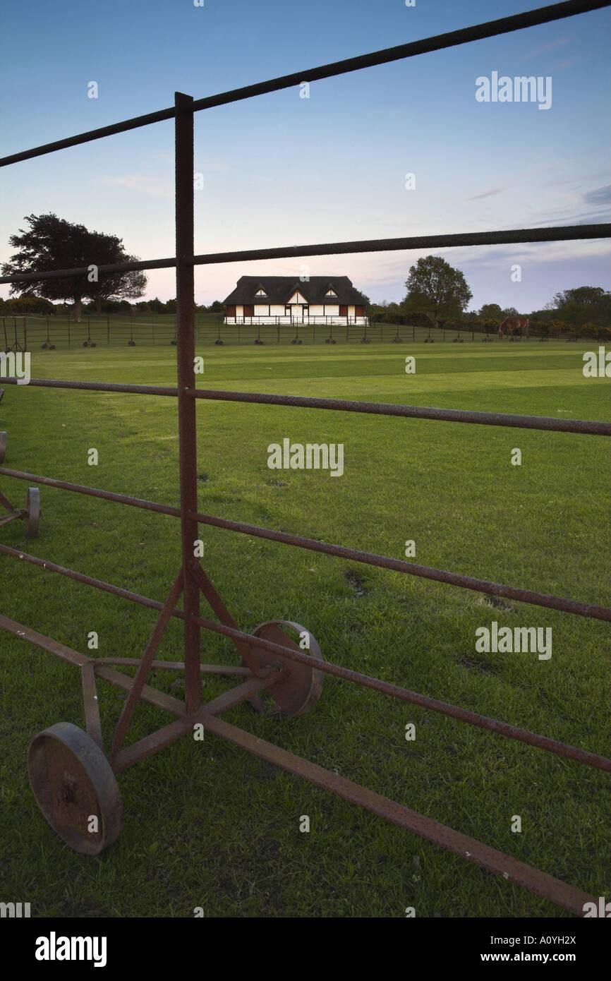 Lyndhurst cricket pitch and pavillion at Boltons Bench - Stock Image