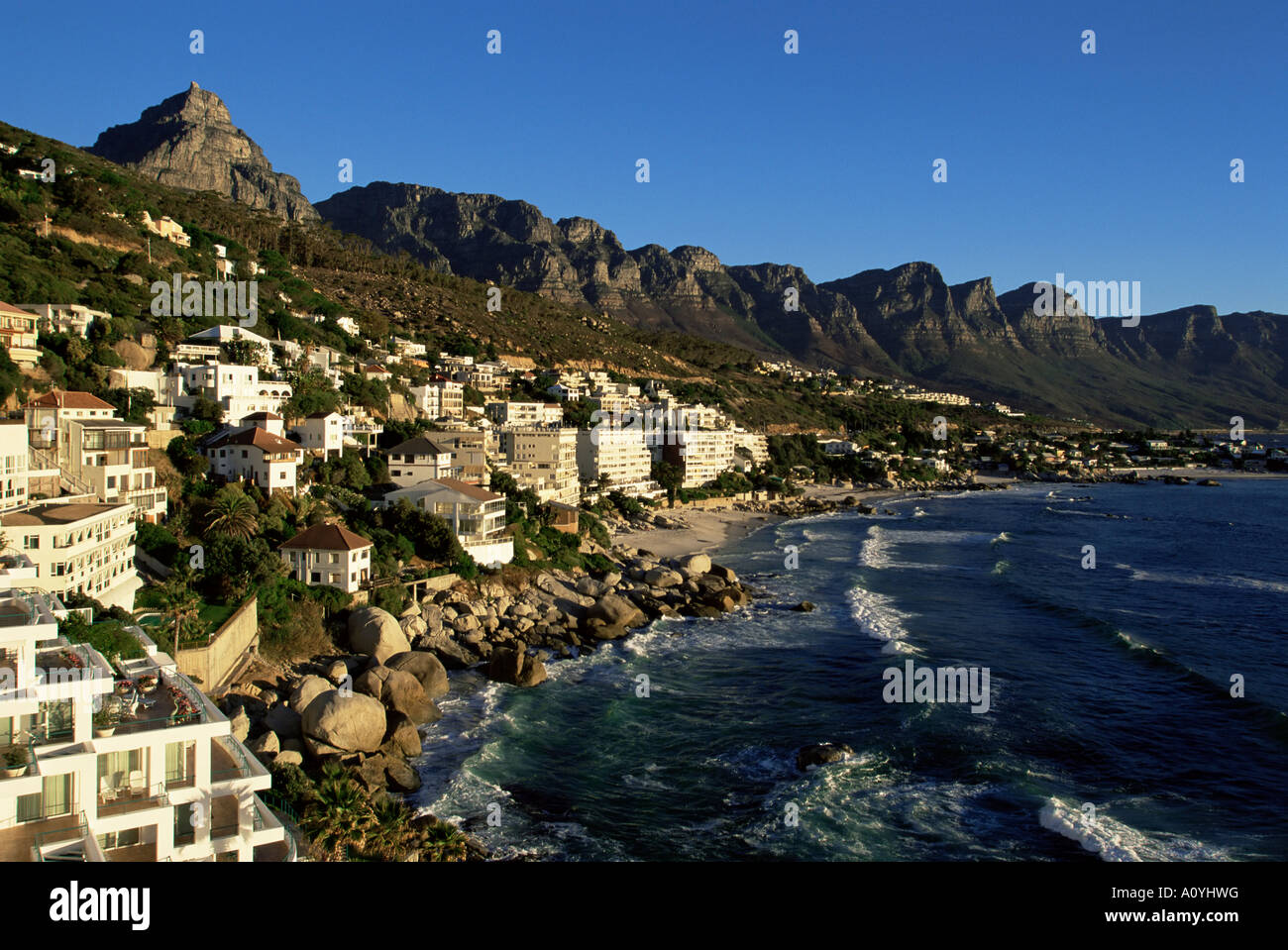 Exclusive houses at the upmarket Clifton beach Cape Town South Africa Africa - Stock Image
