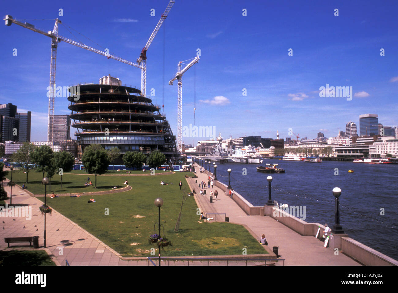 The GLC building on the South bank of the Thames, London. - Stock Image