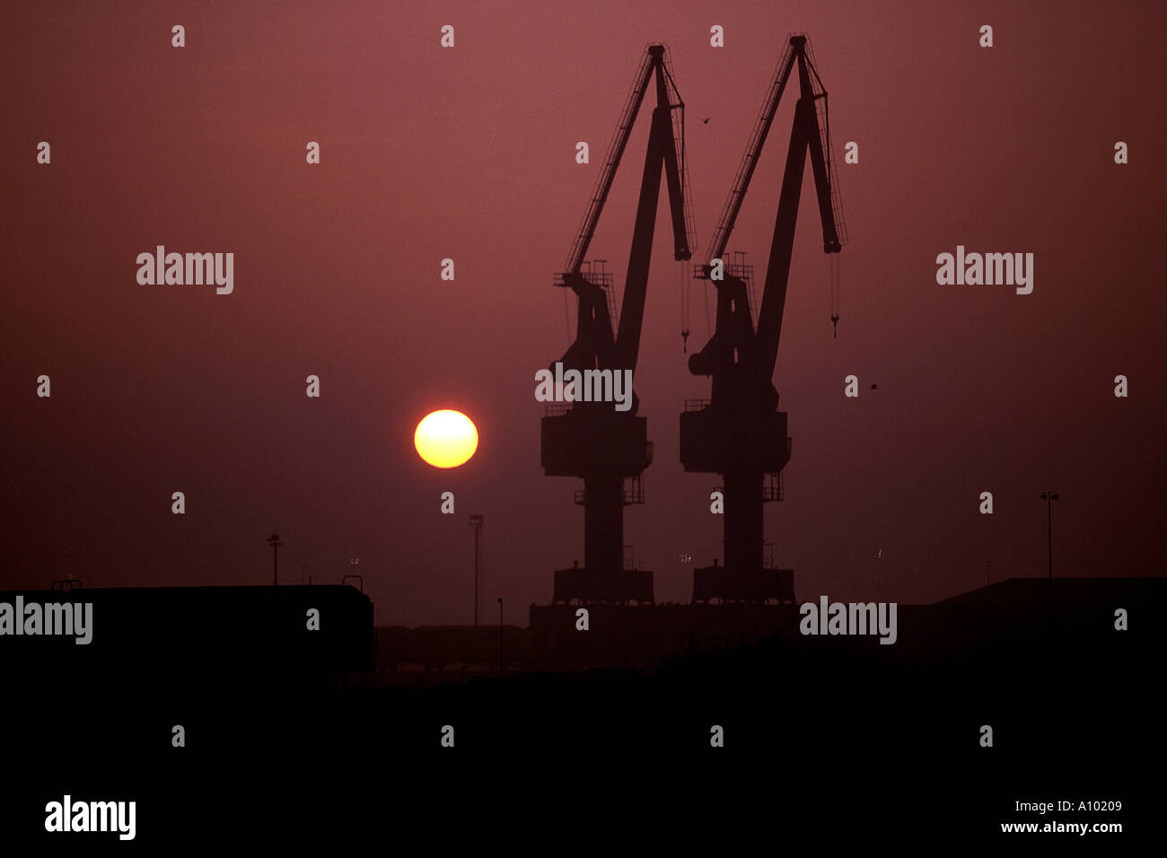 dockyard cranes in Rotterdam Holland in silhouette - Stock Image
