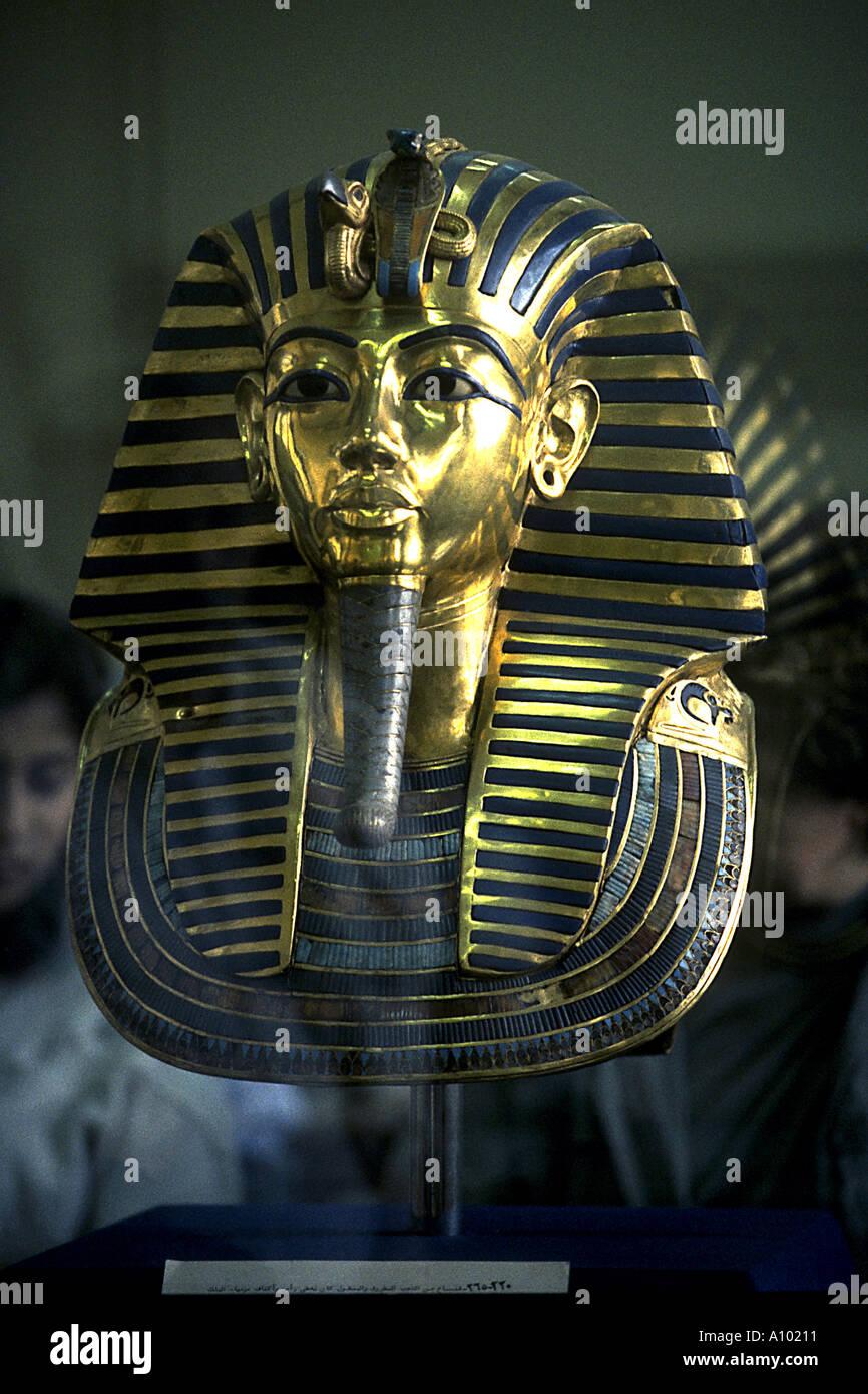 King Tutankhamen death mask Cairo Museum Egypt - Stock Image