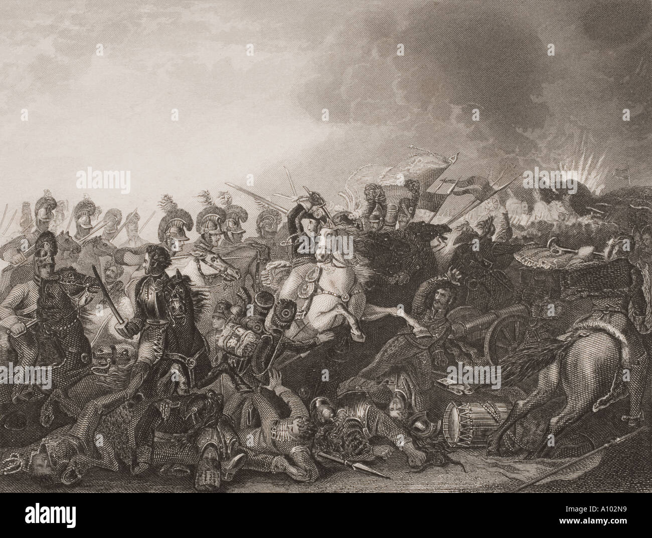 The decisive charge of the Life Guards at the Battle of Waterloo Belgium 18th June 1815 - Stock Image