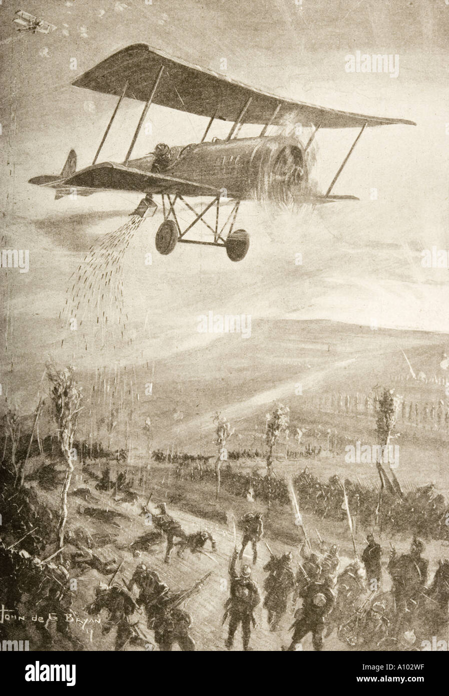 First World War terror weapon.  Biplane dropping steel arrows onto troops. - Stock Image