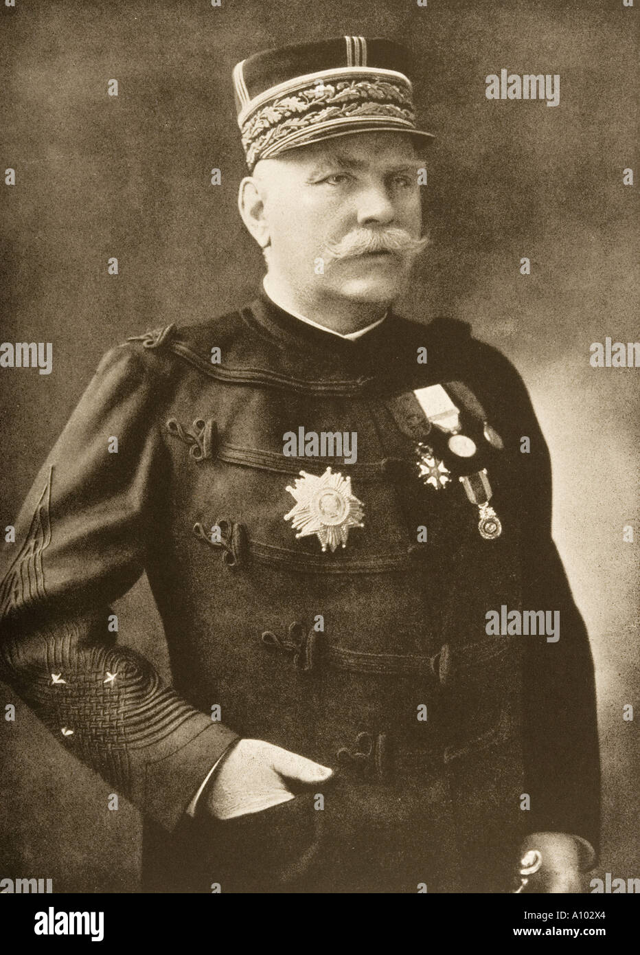 General Joseph Jacques Cesaire Joffre 1852 1931 Chief of Staff French army First World War from photograph by Henri Manuel - Stock Image