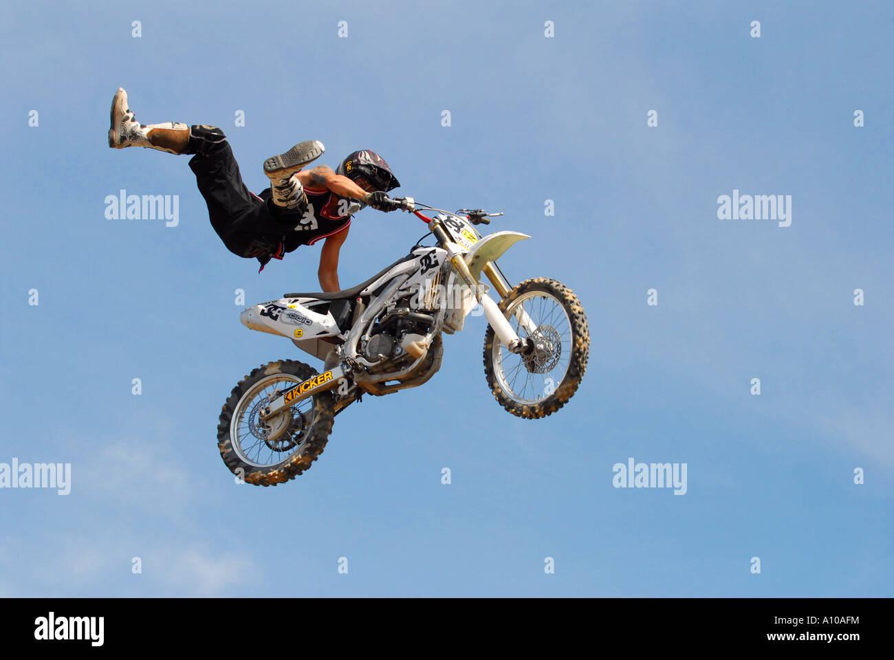 Dirt Bike Rider stunt rider - Stock Image