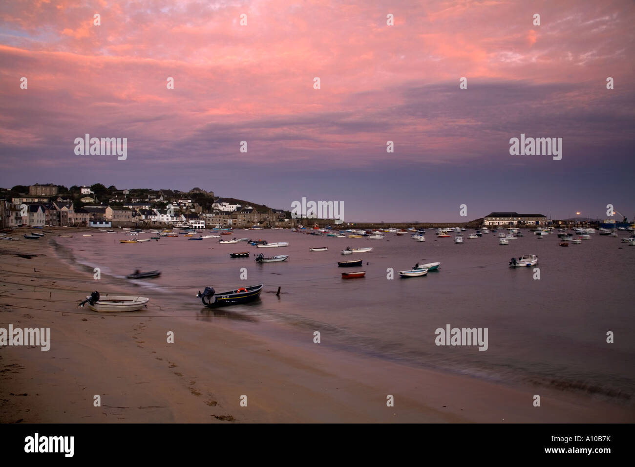 sunset over hugh town harbour st mary s isles of scilly - Stock Image