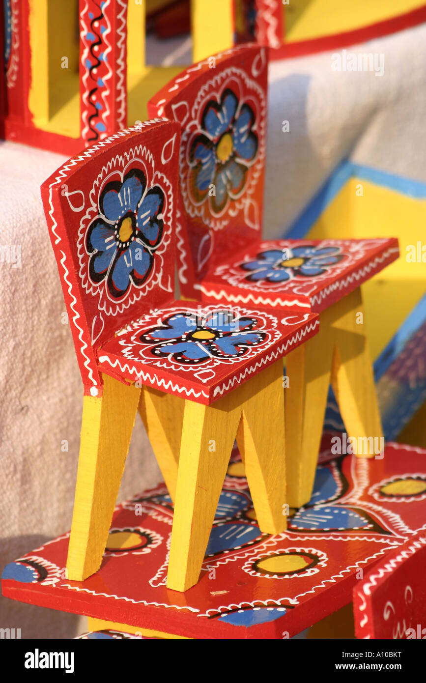 Hand made doll s furniture with folk motifs Split - Stock Image