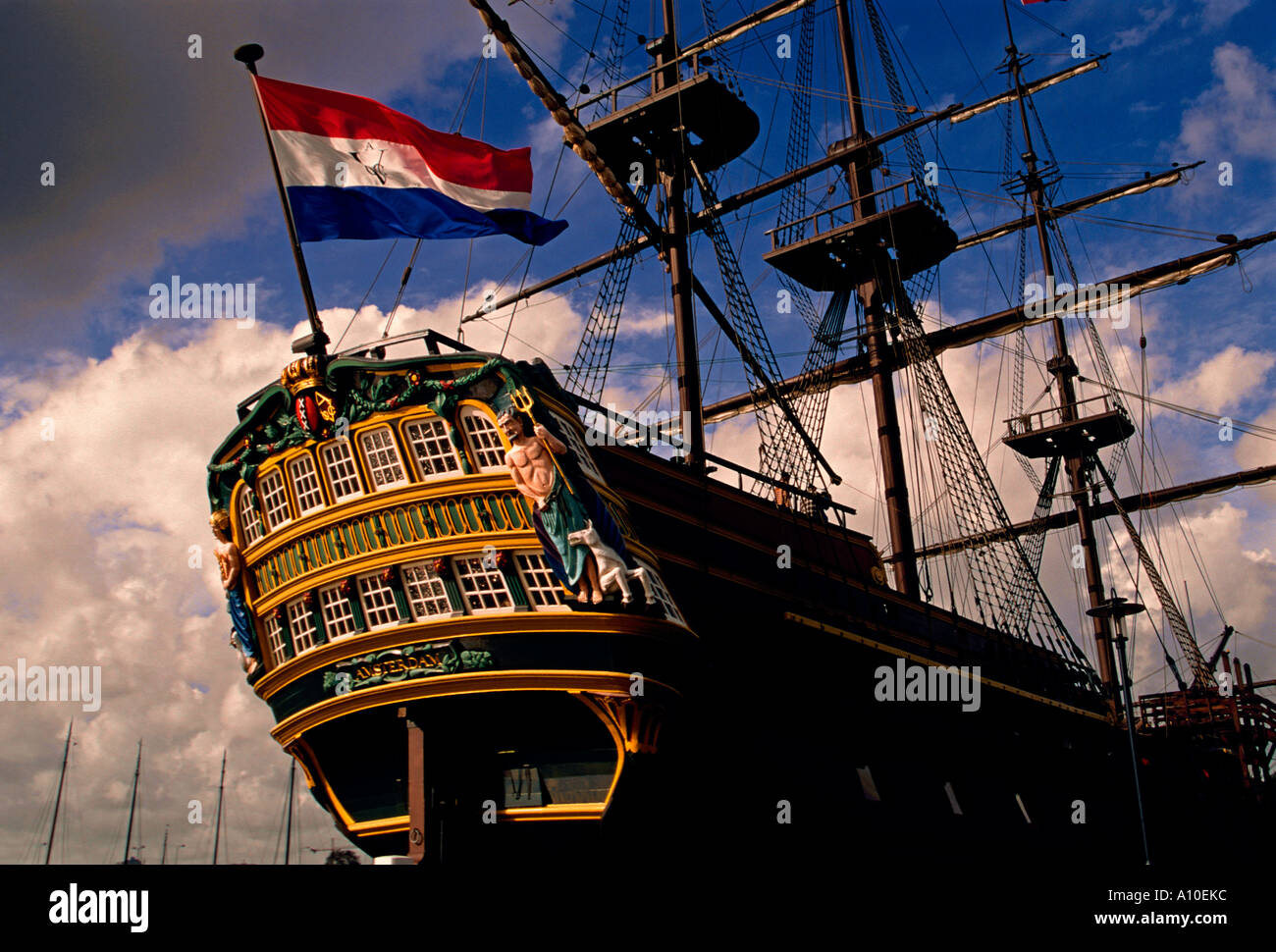 The Amsterdam, three-masted ship, clipper ship, replica, Dutch East India Company ship, Maritime Museum, Amsterdam, Holland, Netherlands, Europe - Stock Image