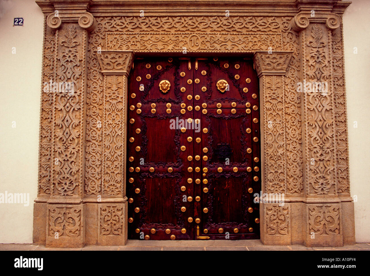 wooden door, home, house, residence, residential area, Antigua, Sacatepequez Department, Guatemala - Stock Image