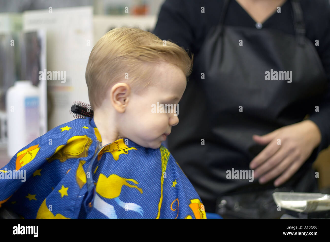 One Year Old Boy Sits In Barber Stool For First Haircut Model Stock