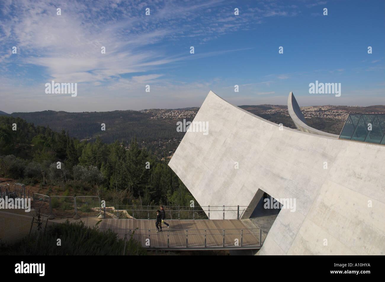Israel Jerusalem Mount Herzl Holocaust museum Yad Vashem New wing view of the exit towards the Jerusalem Hills - Stock Image