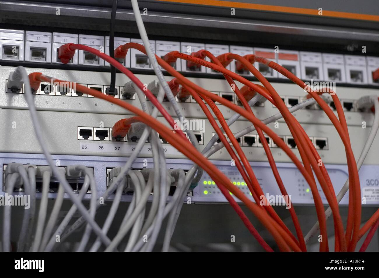 Patch Panel Stock Photos Images Page 2 Alamy Structured Wiring Cabinet Network Hub Switch Image