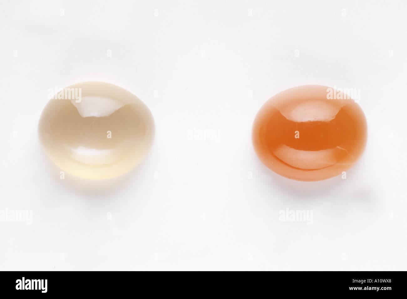Moon Stone Peach Two Shades Semi Precious Stones - Stock Image