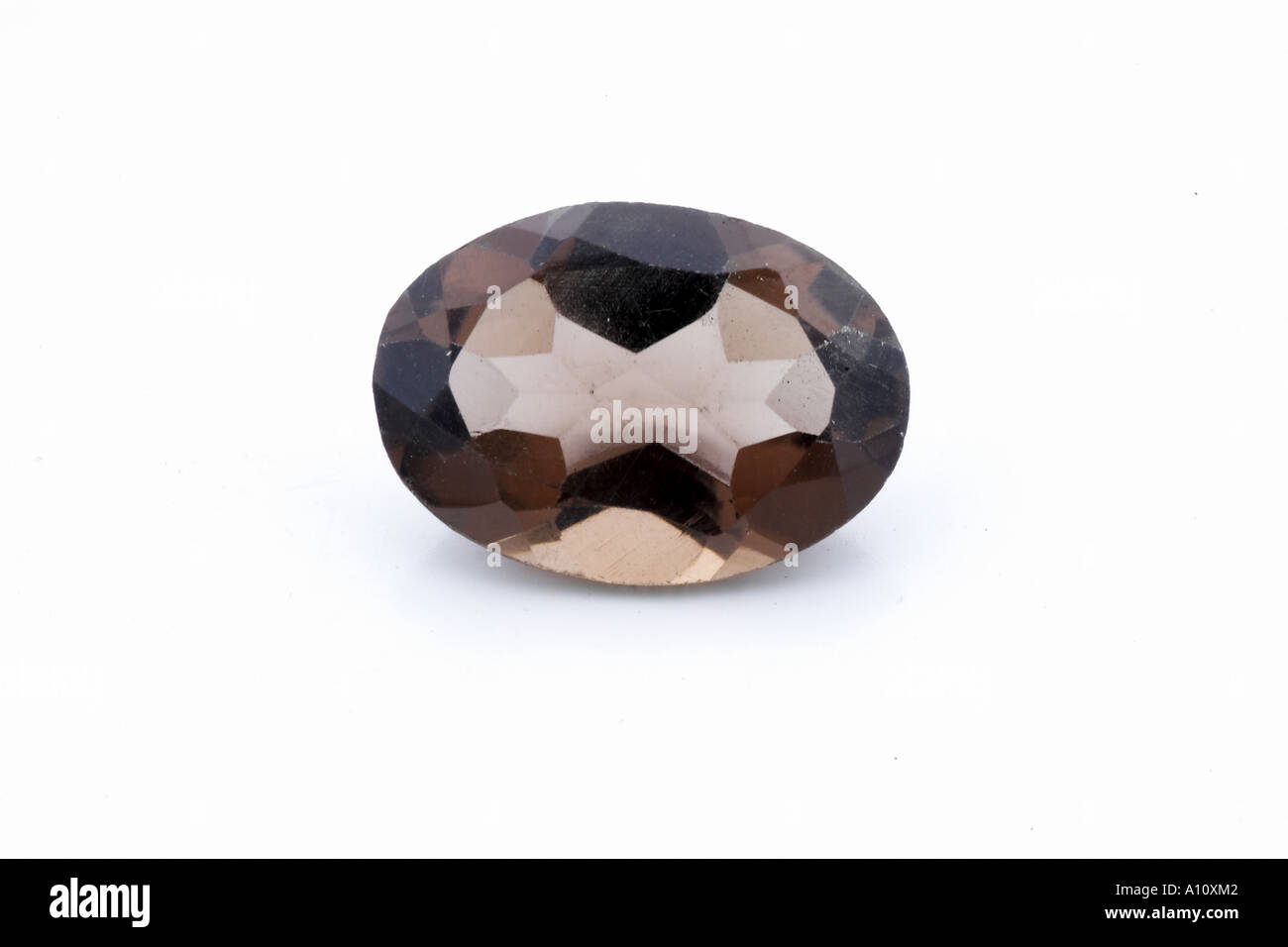 UGA75742 Smokey Topaz Semi Precious Stone on white background - Stock Image