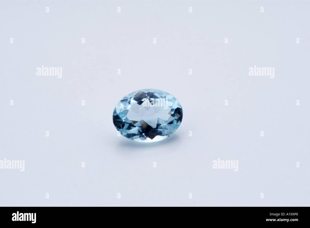 UGA75749 Aquamarine Semi Precious Stone on white background - Stock Image
