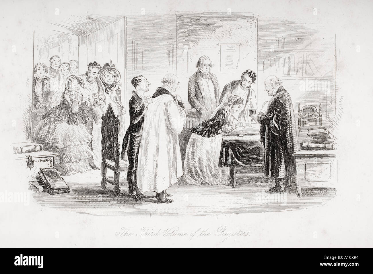 The Third Volume of the Registers Illustration from the Charles Dickens novel Little Dorrit by H K Browne known as Phiz - Stock Image
