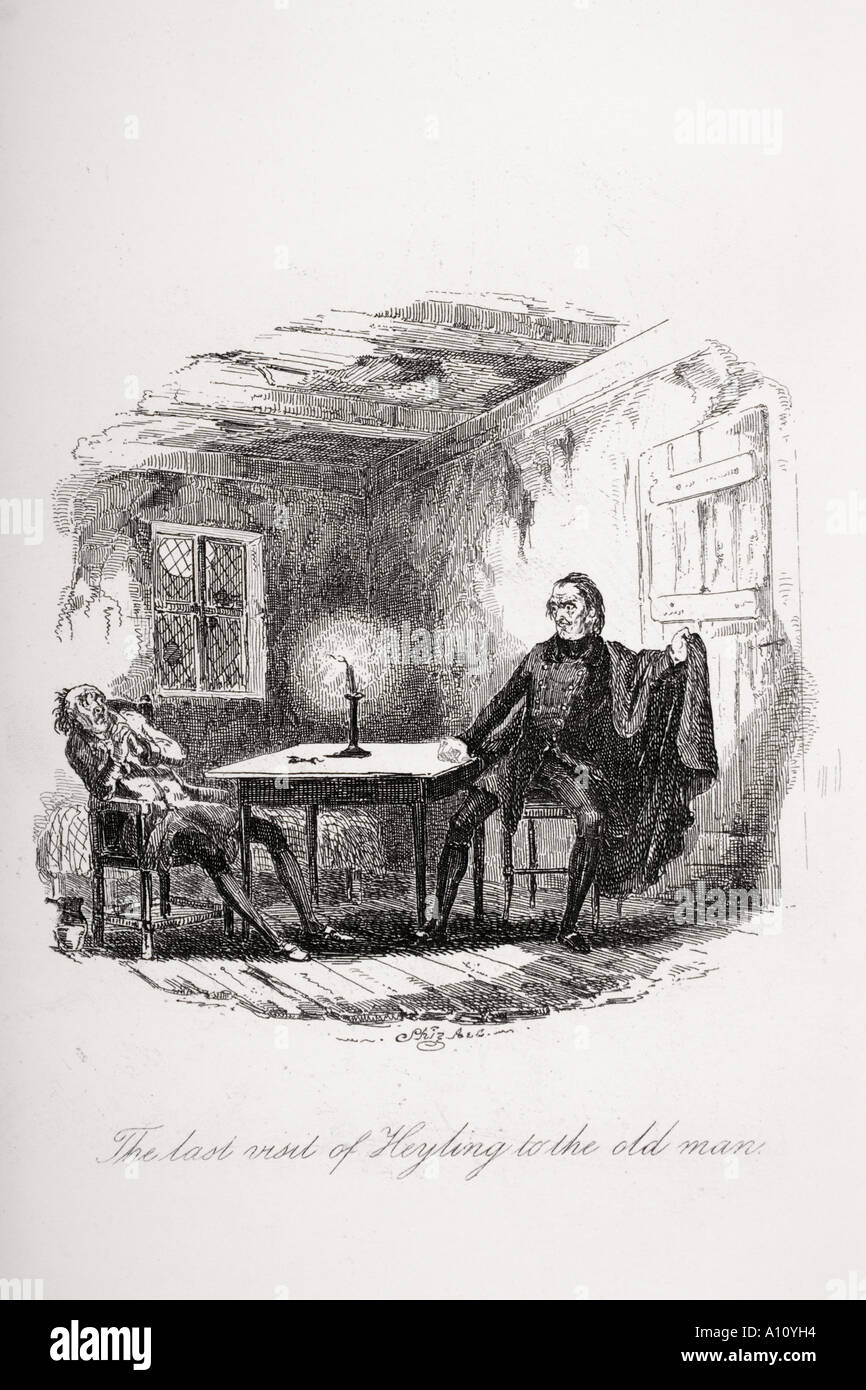 The last visit of Heyling to the old man Illustration from the Charles Dickens novel The Pickwick Papers - Stock Image