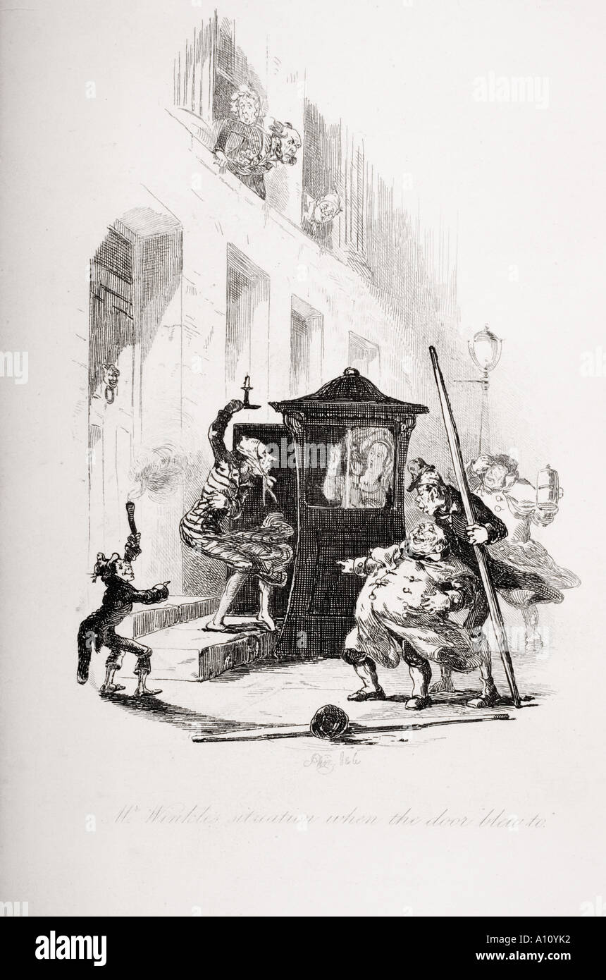 Mr Winkle s situation when the door blew to.  Illustration by H K Browne known as Phiz from Dickens novel The Pickwick Papers. - Stock Image