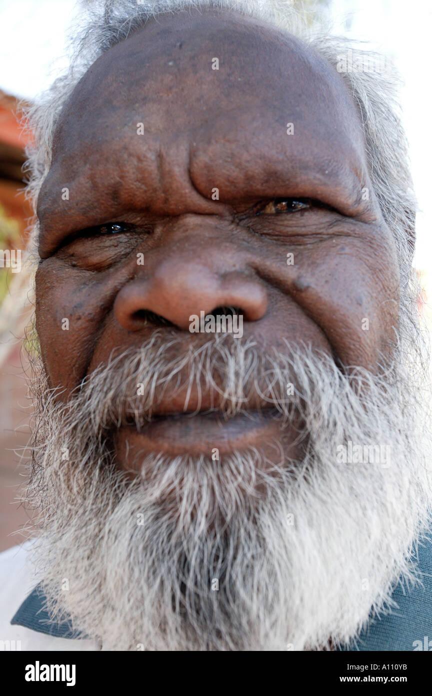 An aborginal elder Titjikala community near Alice Springs Northern Territory Australia - Stock Image