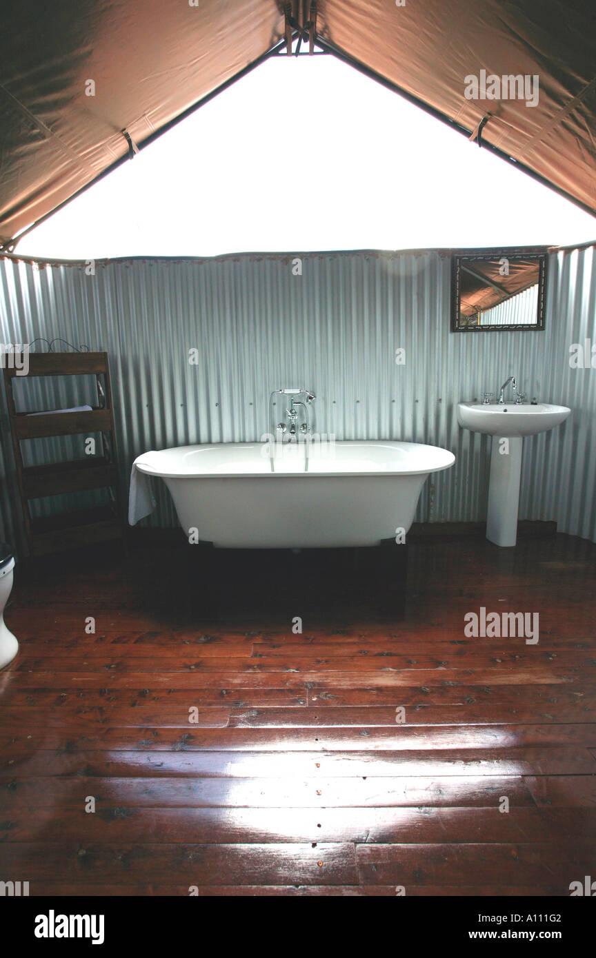 Luxury bathroom in tent of Gunya Titjikala safari resort near Alice Springs Red Centre Central Australia Stock Photo