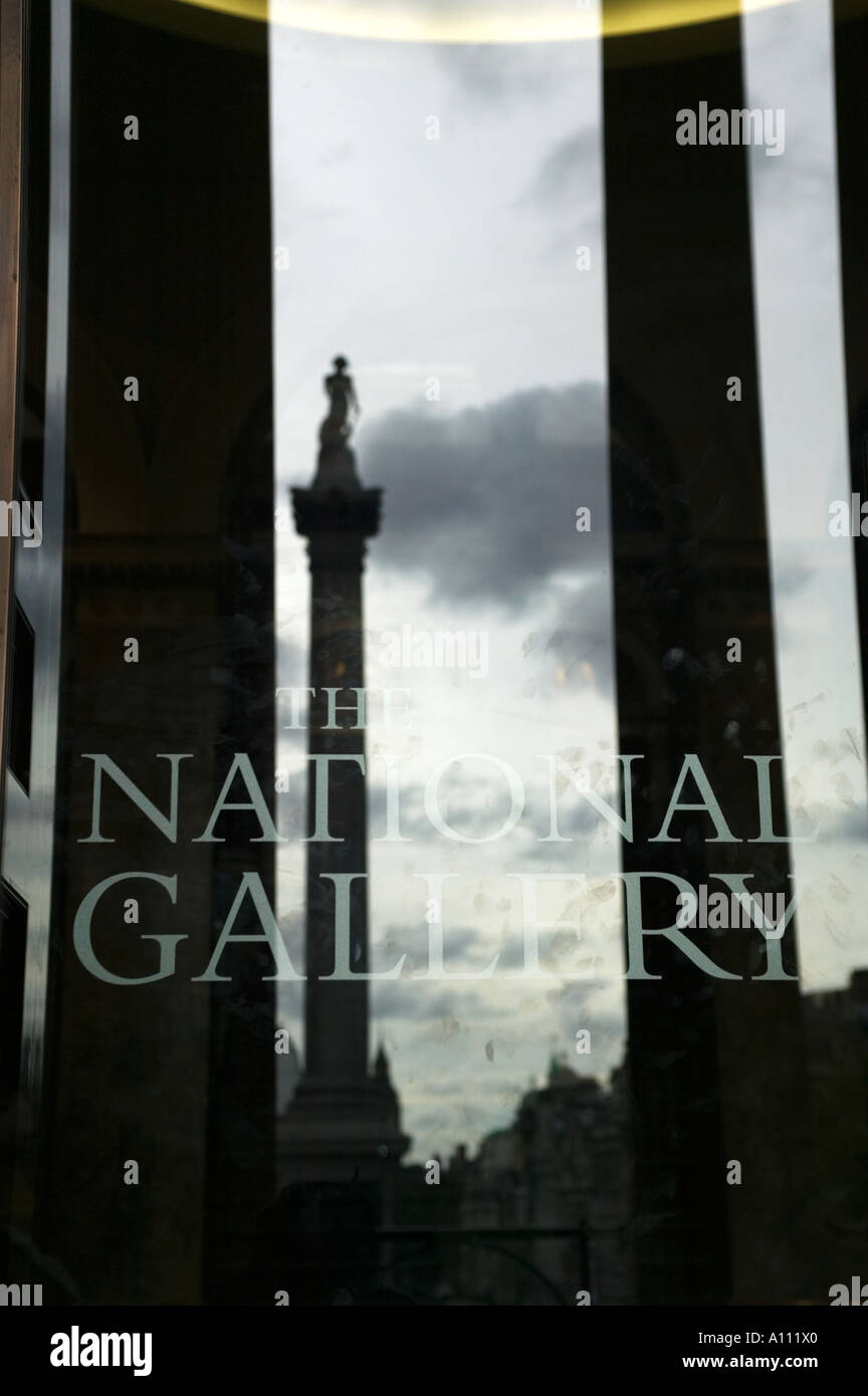 Reflection of Nelson's Column in the portico entrance doors of the National Gallery, Trafalgar Square, London, England, Stock Photo