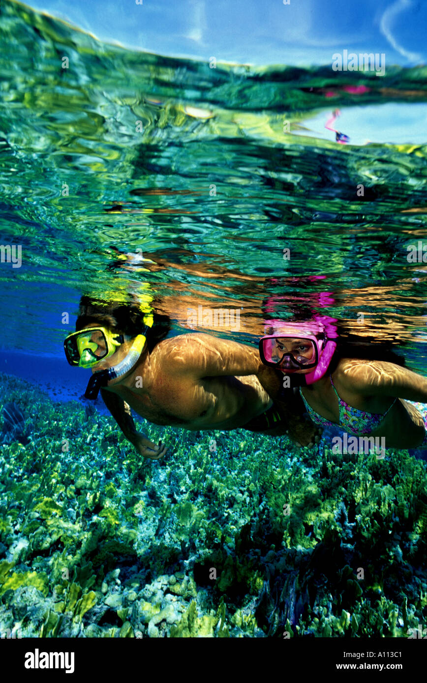 A PAIR OF SNORKELERS FLOATS OVER THE REEF IN THE CRYSTAL CLEAR WATER OF THE BAHAMAS - Stock Image