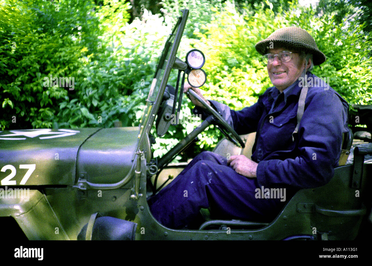 Man in World War 2 American Jeep - Stock Image