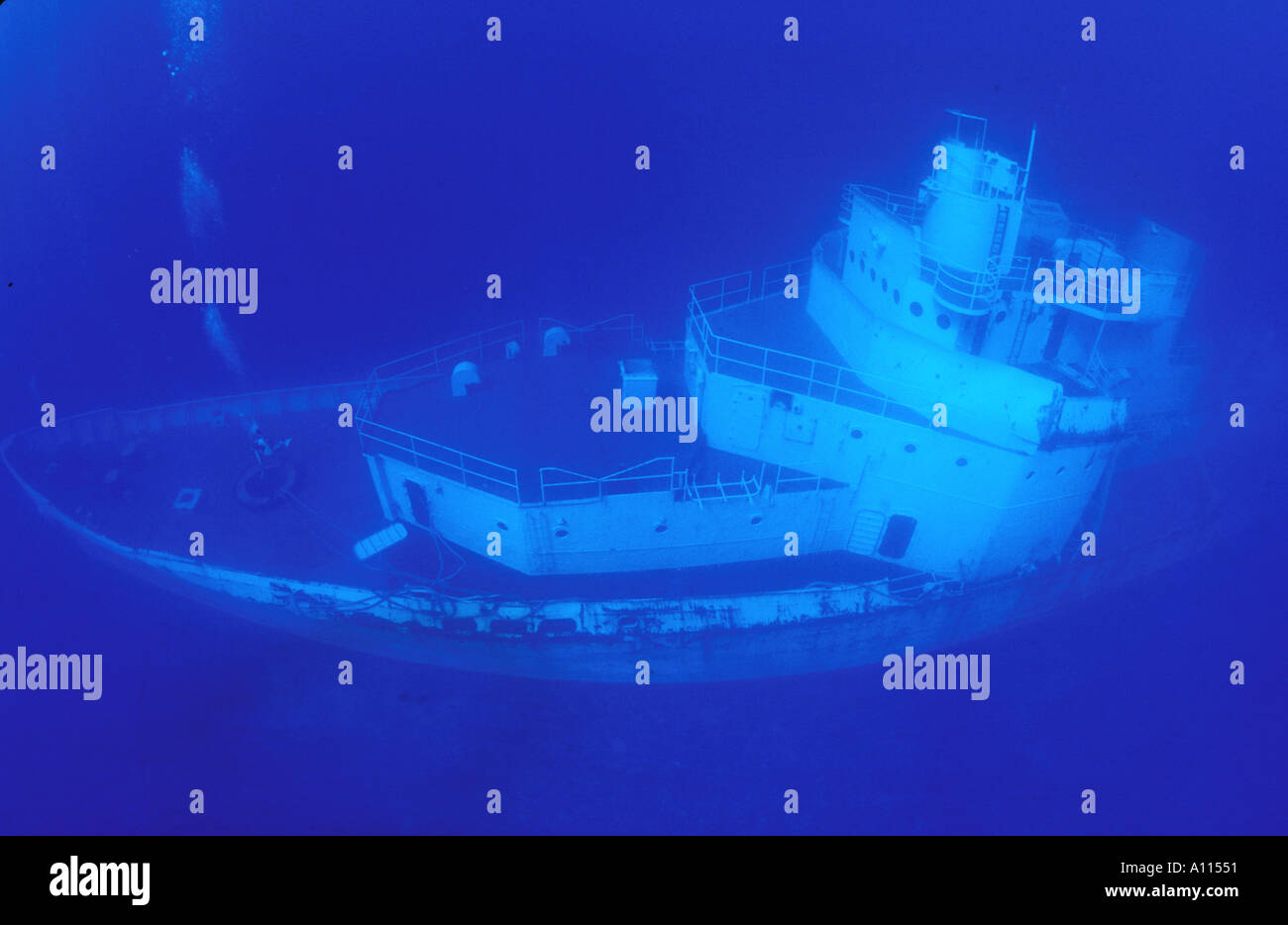 A WIDE ANGLE OF A COAST GUARD CUTTER SUNK AS AN ARTIFICAL REEF IN THE FLORIDA KEYS - Stock Image