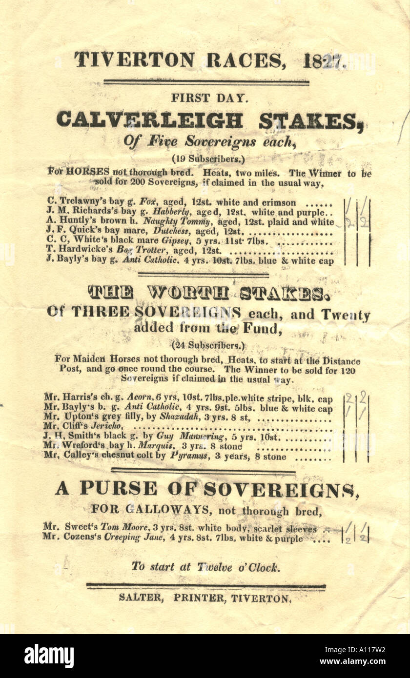 Race Card, Tiverton Races 1827. - Stock Image