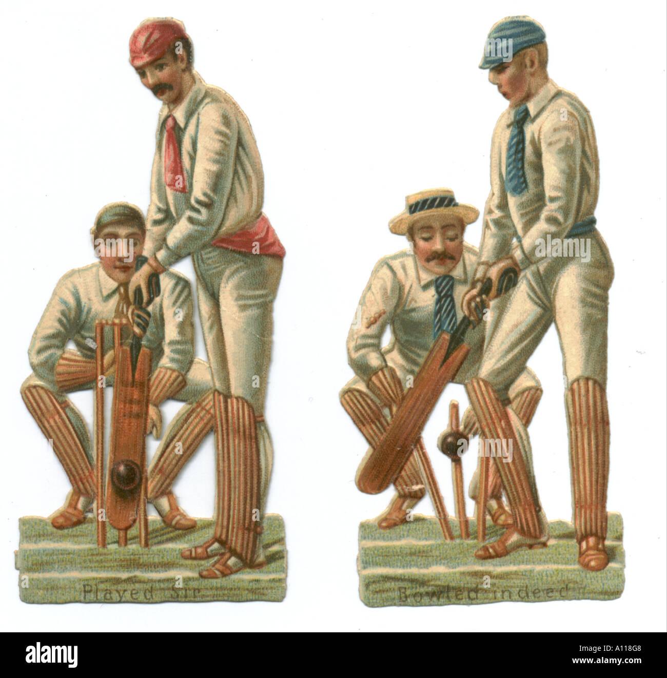 Cricketing die cut scraps circa 1880 - Stock Image