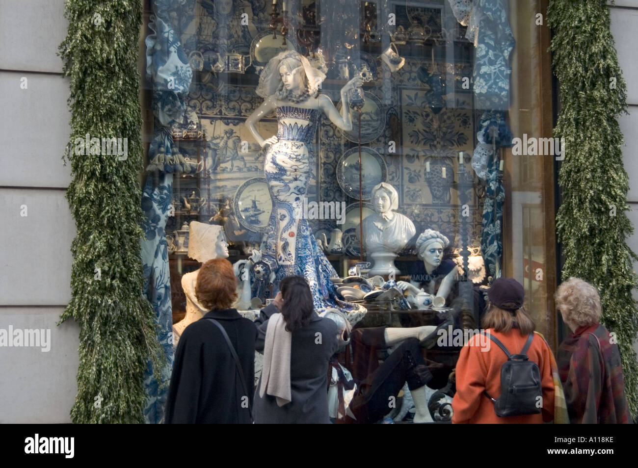 New York Visitors Admire Christmas Decorations Displayed In Store Window In  Central Manhattan New York City USA 24 December 2005