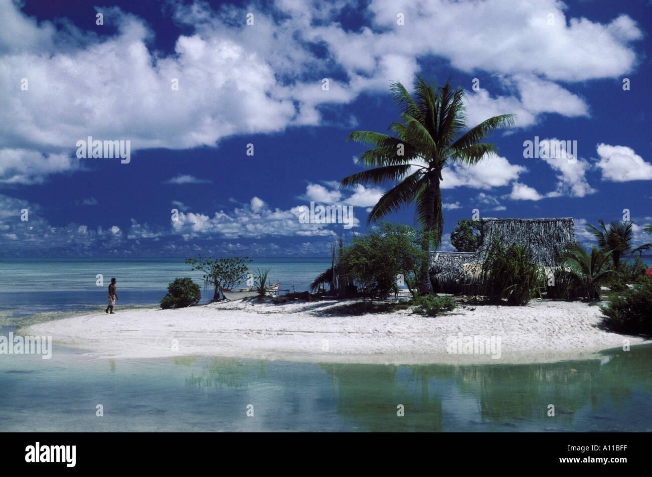 Islet on Tarawa atoll Kiribati Central Pacific - Stock Image