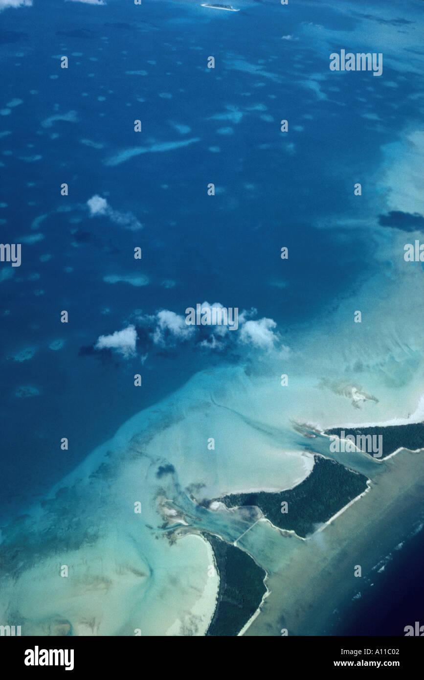 Aerial view of part of Tarawa atoll Kiribati Central Pacific - Stock Image