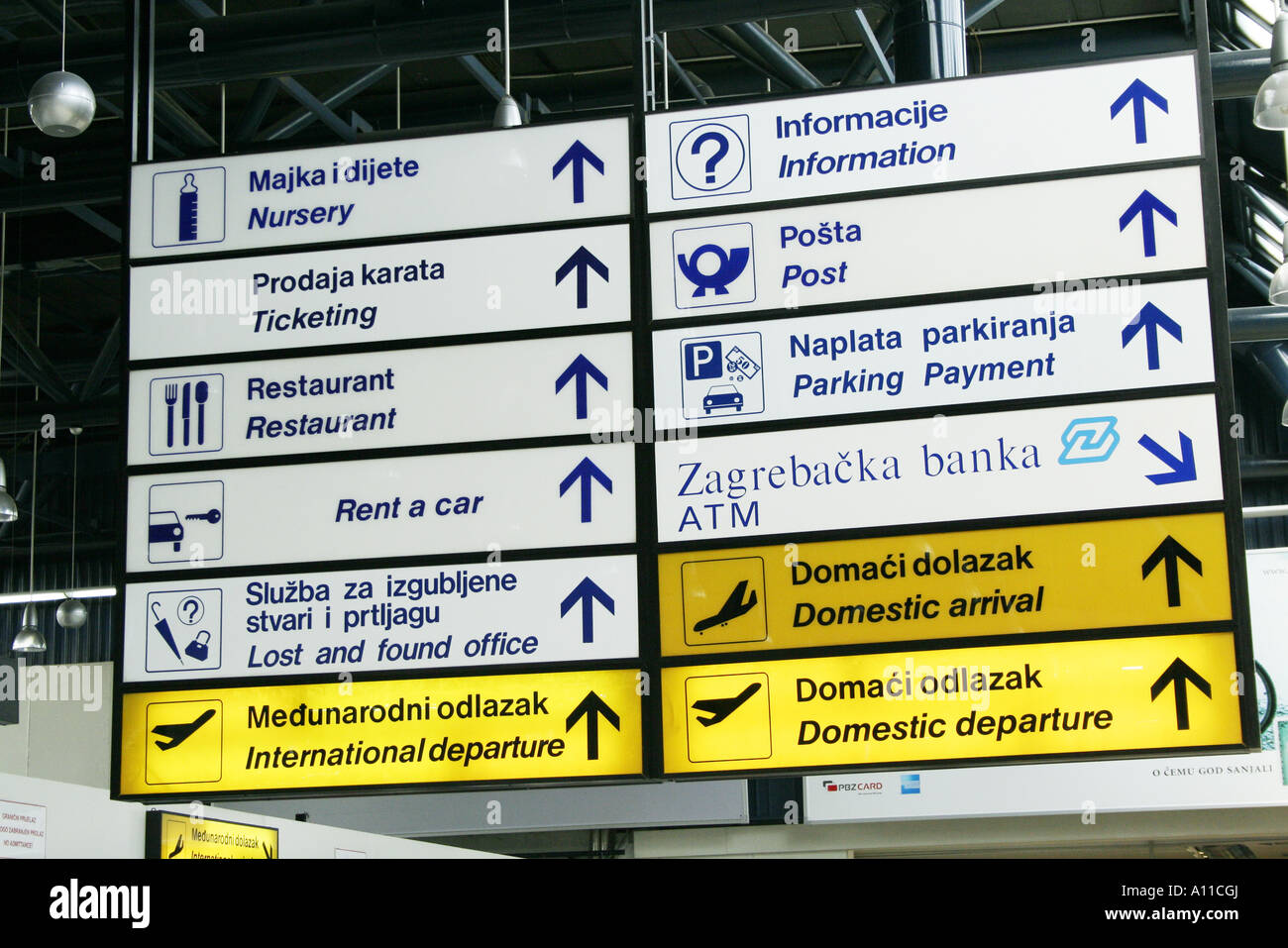 Sign At Zagreb Airport Stock Photo Alamy