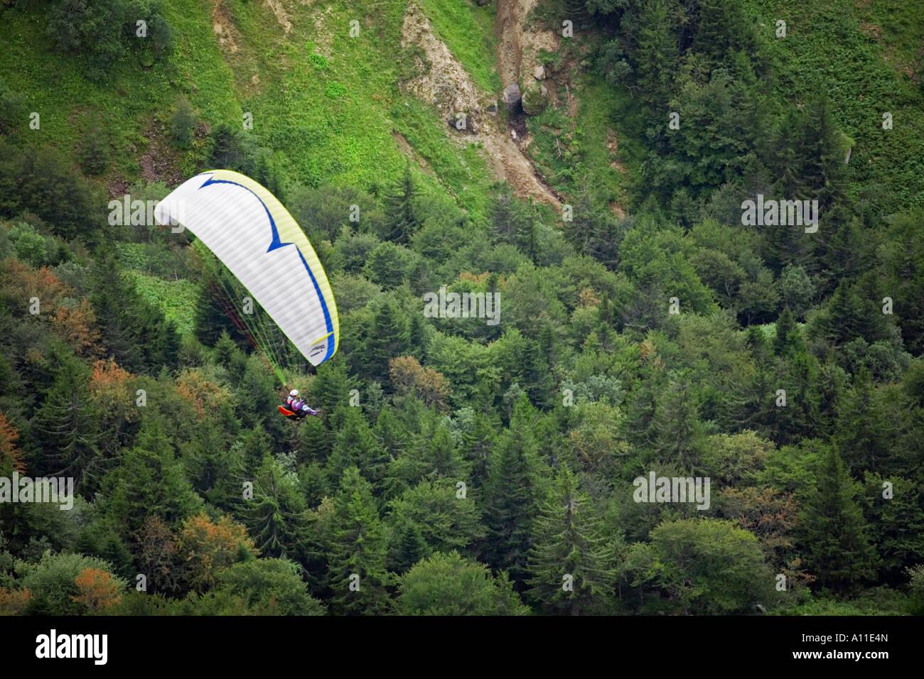 A paraglider over a fir forest (Puy de Dôme-France). Parapentiste au-dessus d'une forêt de sapins - Stock Image