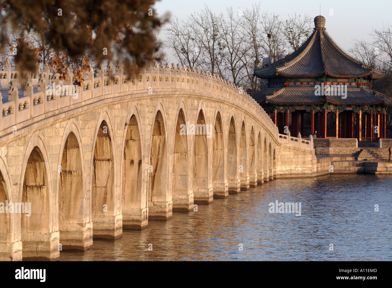 Seventeen Arch Bridge at the Summer Palace in Beijing, China - Stock Image