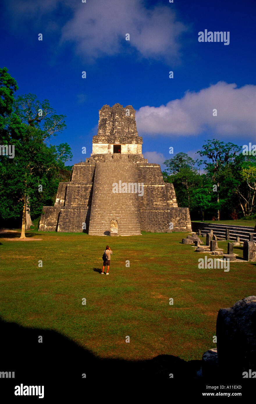 Temple of the Masks aka Pyramid 2 a Mayan temple in the Great Plaza in Tikal National Park in El Peten Department Stock Photo