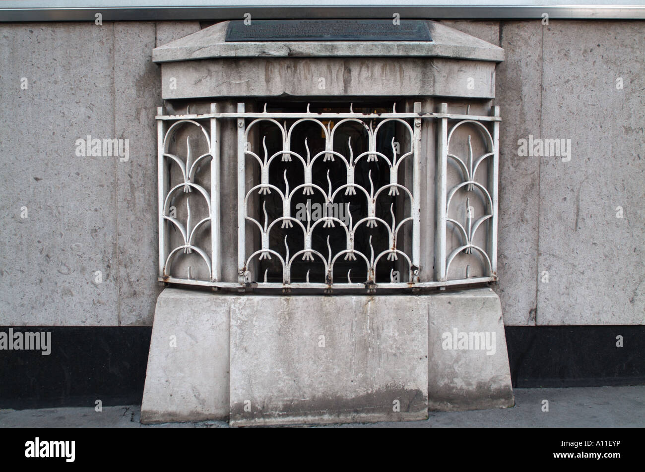The housing for the London Stone located at 111 Cannon Street, London. - Stock Image